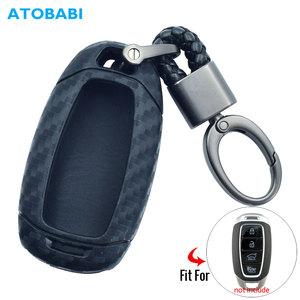 Carbon Silicone Car Key Case For Hyundai Elantra GT Kona 2018 2019 Santa Fe Veloster Smart Remote Fob Cover Protector Keys Bag(China)