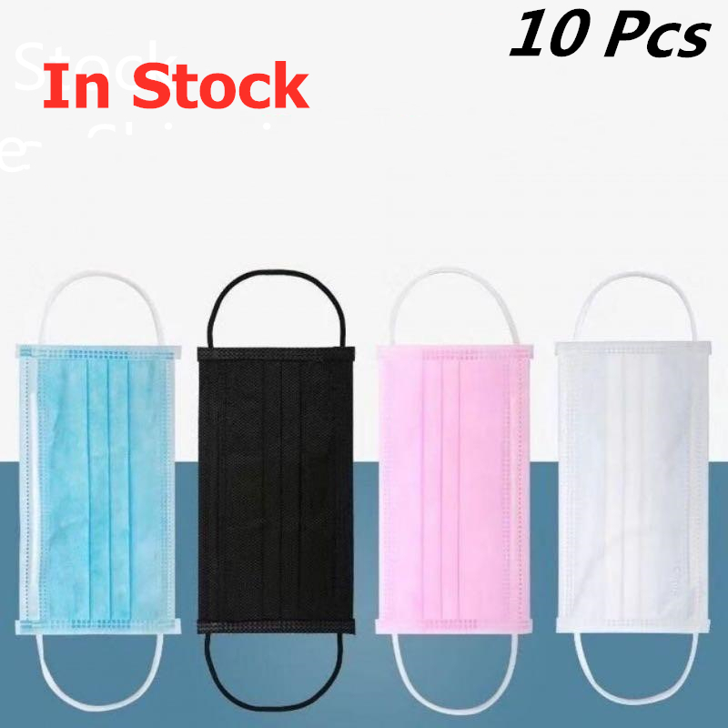 4 Colors Mouth Masks 10 Pcs Disposable Face Mask Elastic Ear Loop 3 Layer Disposable Mask Cover