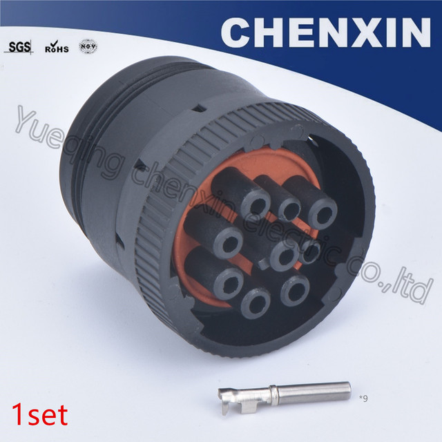 Black 9 pin sealed waterproof auto connectors plug 1.6 female auto accessories wire connection plug adapter HD16 9 1939S