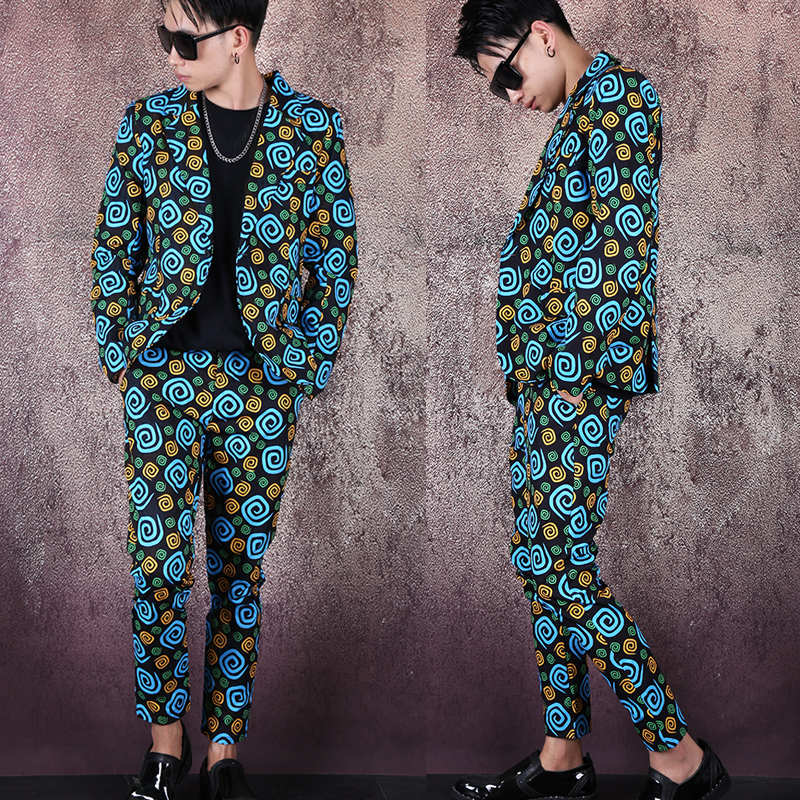 M-3XL!Spring And Autumn Color Swirl Prints Men's Slim Jacket Nightclub Men's Hair Stylist Suits Free Hot Set.