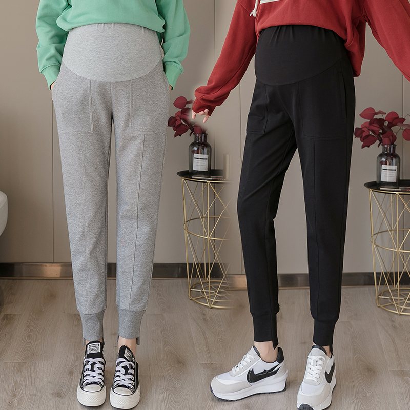 Belly-Pants Pregnancy-Trousers Cotton for Sports Casual 8034 Adjustable Autumn High-Waist