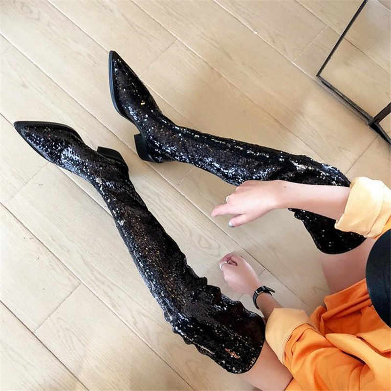 Prova Perfetto uyluk-yüksek çizmeler Bling Glitter kadın uzun çizmeler seksi Model bayan sivri burun Over-The- diz çizmeler kadın ayakkabıları 2020