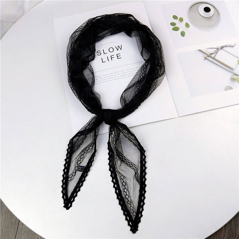 40*113cm 2019 Autumn Black White Pink Green Lace   Scarf   Women Stewardess Silk Neck Hair Tie Head   Wrap     Scarves   Kerchiefs Foulard