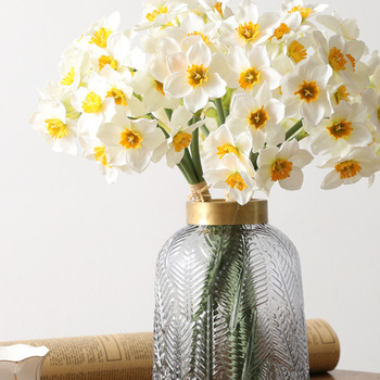 3pcs Artificial Daffodil Bouquet Fake Floral Decor Home Office Silk Cloth Daffodil Bouquet Ornament фото