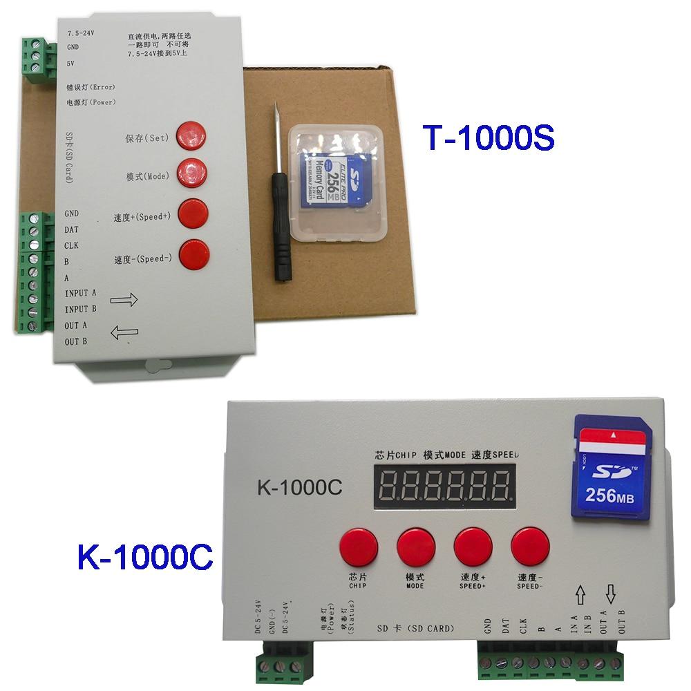 K-1000C (T-1000S atualizado) controlador k1000c ws2812b, ws2811, apa102, t1000s ws2813 led 2048 pixels controlador de programa DC5-24V