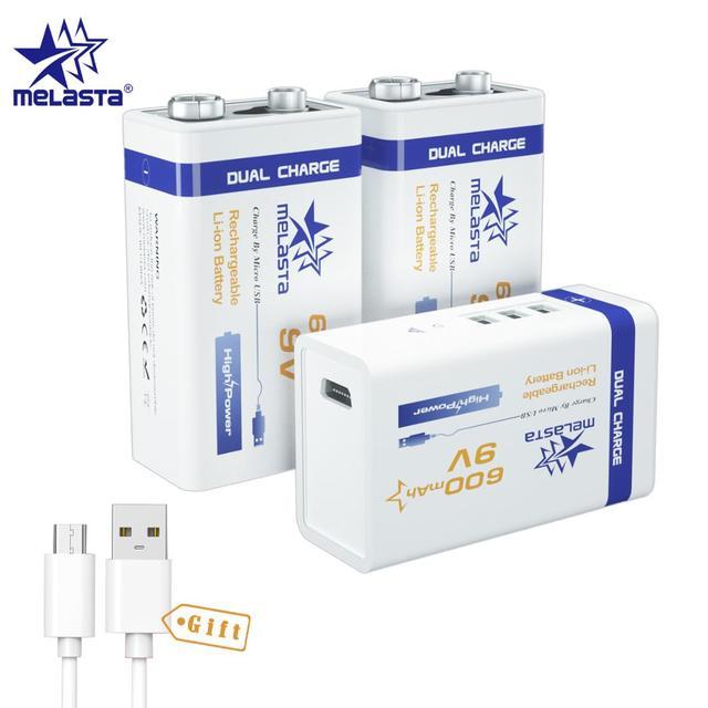 Micro USB 9V 600mAh 6F22, 3 pièces, batterie lithium ion rechargeable, pour alarme de fumée, microphone sans fil, guitare, interphone, multimètre EQ