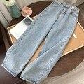 Светильник-голубые джинсовые брюки, винтажные брюки с широкими штанинами, женские прямые длинные брюки в Корейском стиле, повседневные сво...
