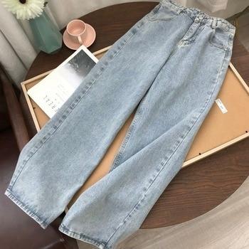Светильник синие джинсы брюки для девочек в винтажном стиле, брюки с широкими штанинами для женщин в Корейском стиле прямые длинные штаны с ...