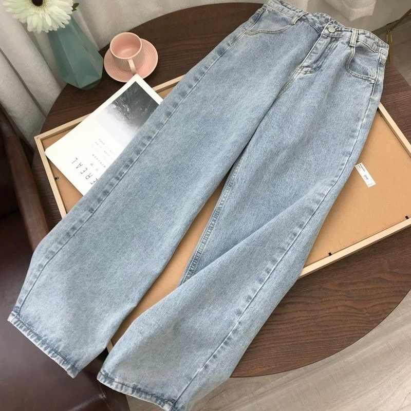 Pantalones De Mezclilla Azul Claro Para Mujer Pantalon Largo Recto Ancho Vintage Coreano Cintura Alta Holgado Informal Con Cinturon Otono 2020 Pantalones Vaqueros Aliexpress
