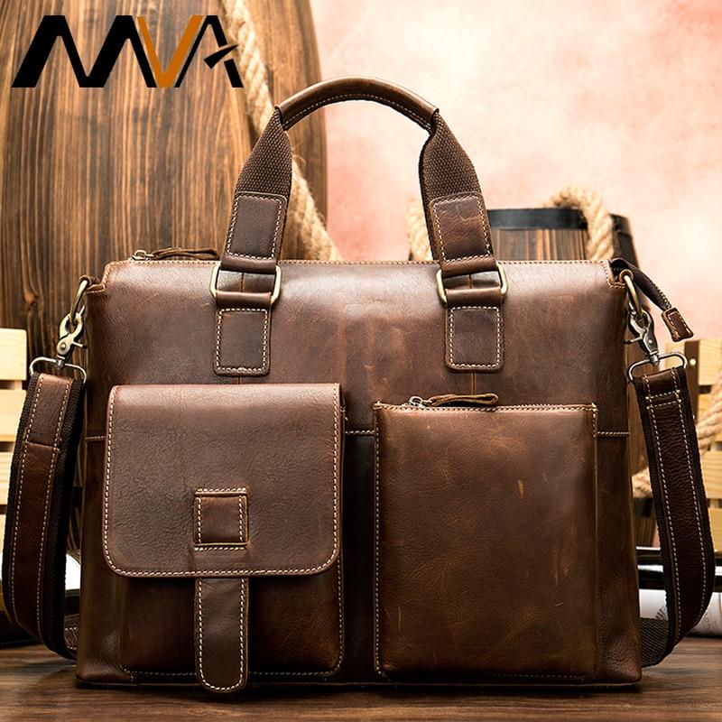 Men's Briefcase Genuine Leather Laptop Bags For Mens Messenger Bag Men Leather Briefcases Mens Casual Business Sac En Cuir Homme