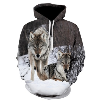 2020 brand new fashion animal 3D printed hoodie, men and women personalized design sweatshirt snow double Wolf harajuku hoodie 1