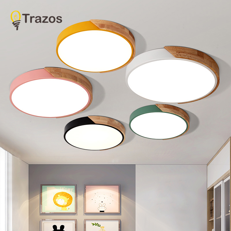TRAZOS Pendant Lights Led Modern For Dining Room Bedroom Wooden+Metal Suspension Hanging Ceiling Lamp Home Lighting For Kitchen