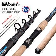 Obei alimentador vara de pesca telescópica moldando viagem rod3.0 3.3 3.6m vara de pesca alimentador de carpa 60-180g pólo