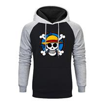 Nowa jednoczęściowa bluza z kapturem męska japońska piracka król Luffy bluza z kapturem Anime bluza męska bluza w stylu casual zimowa jesień bluza polarowa tanie tanio Robmoda Pełna REGULAR Na co dzień NONE Brak Drukuj COTTON Poliester