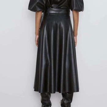 2019 New Fashion Women Autumn Winter PU Faux Leather Skirts Lady High Waist A-line Midi Mid-calf Maxi Long Black Skirt With Belt 2