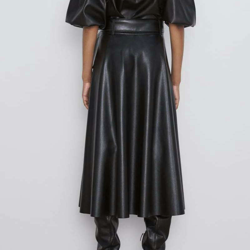 Image 2 - 2019 New Fashion Women Autumn Winter PU Faux Leather Skirts Lady High Waist A line Midi Mid calf Maxi Long Black Skirt With Belt-in Skirts from Women's Clothing
