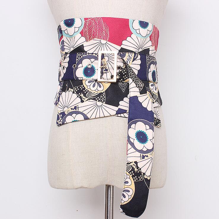 Women's Runway Fashion Print Fabric Cummerbunds Female Vintage Dress Corsets Waistband Belts Decoration Wide Belt R2175