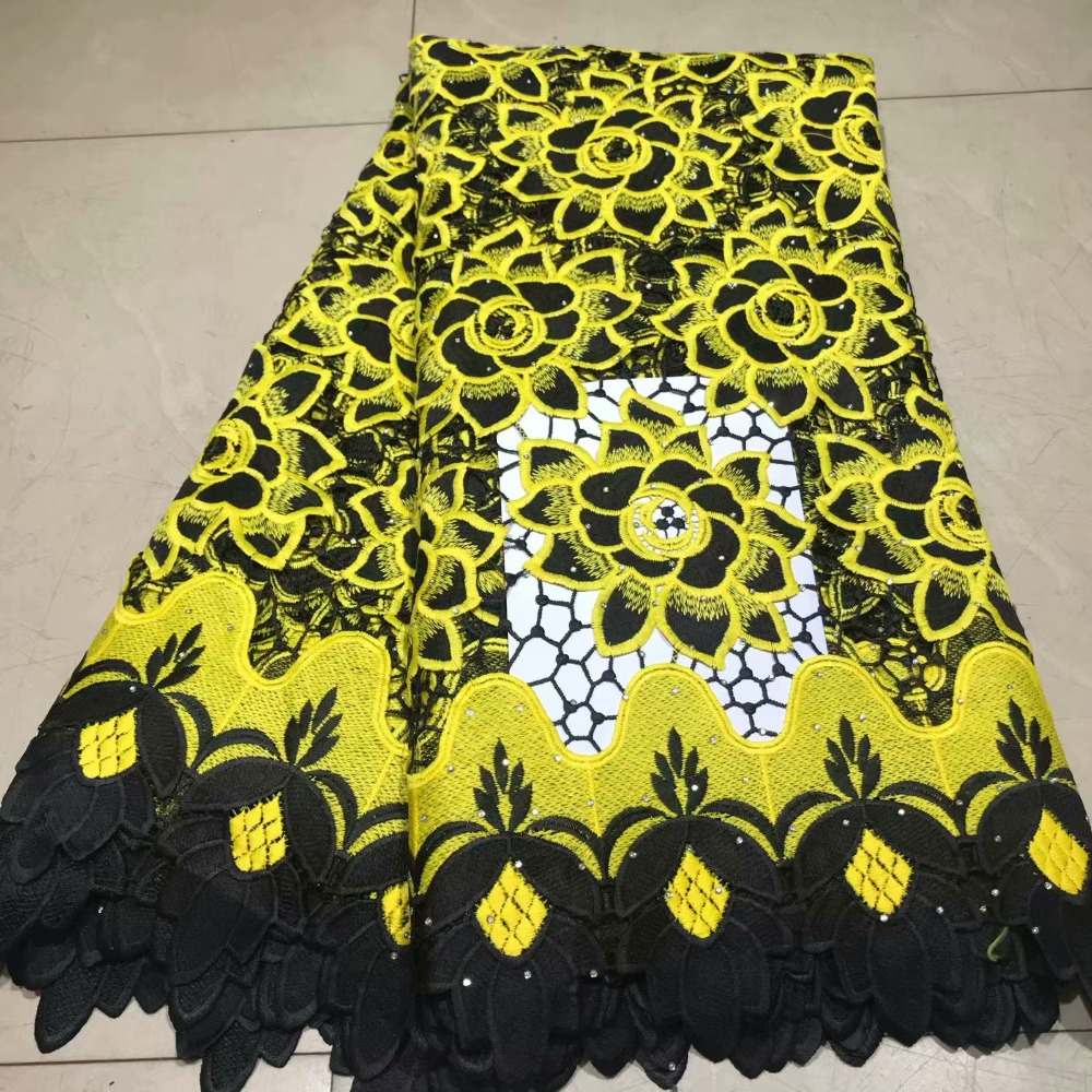 Black Yellow African Lace Fabric With Rhinestone Swiss Voile Lace In Switzerland 2019 Embroidery Guipure Lace Fabric For Wedding
