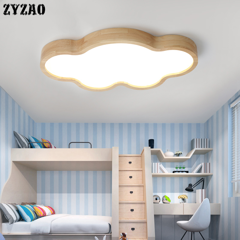 Nordic Log Cloud Shape Cartoon Ceiling Light Children's Room Thin Cloud Wood Ceiling Lamp Baby Bedroom Decor Led Lights Fixtures