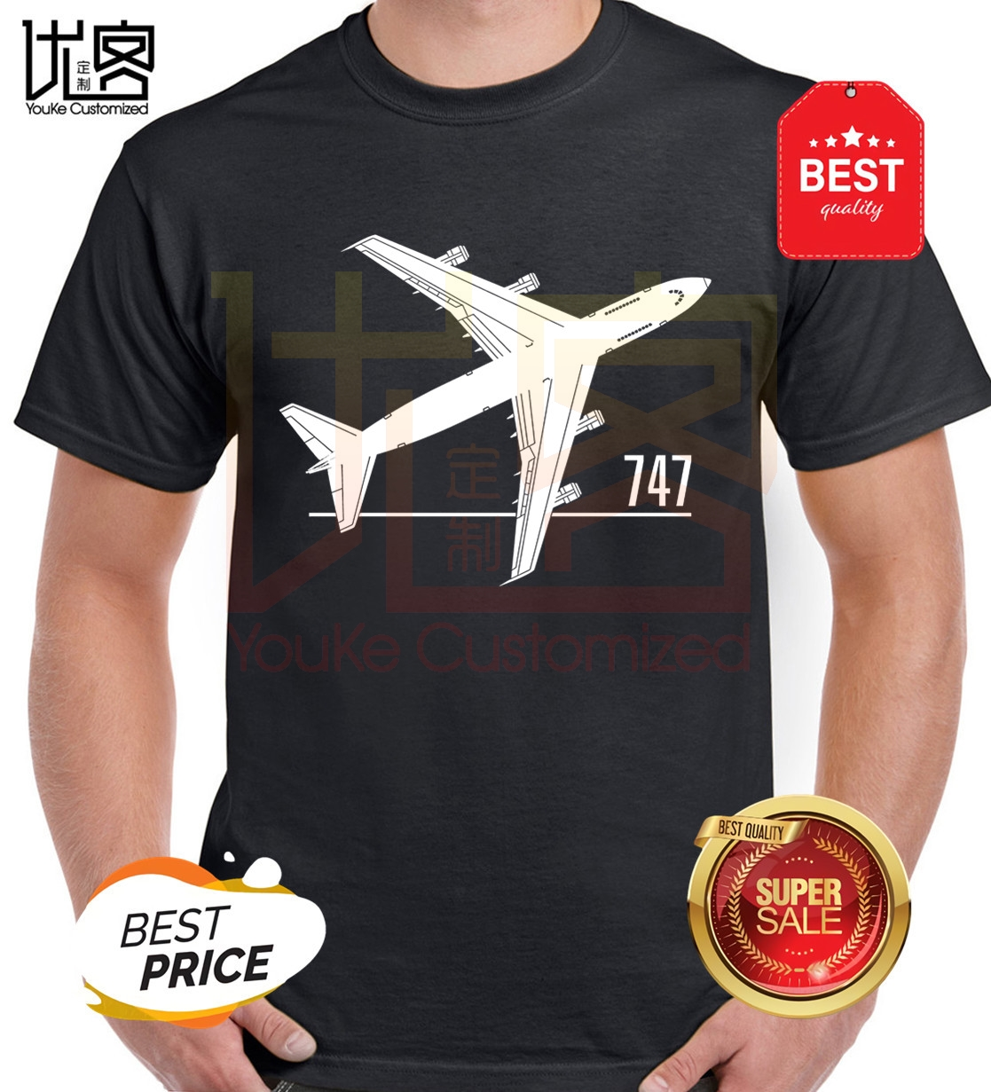 Mens T Shirts Fashion 2020 Print Short Sleeve T Shirt Classic Boeing 747 Aircraft Airliner Inspired Tee Shirt