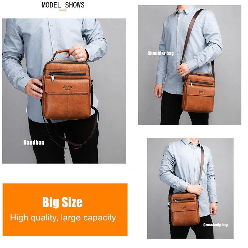 Image 4 - JEEP BULUO Mens Crossbody Shoulder Bags Big Size Split Leather  Handbag Fashion Business Man Messenger Bag High quality Tote Hot  -