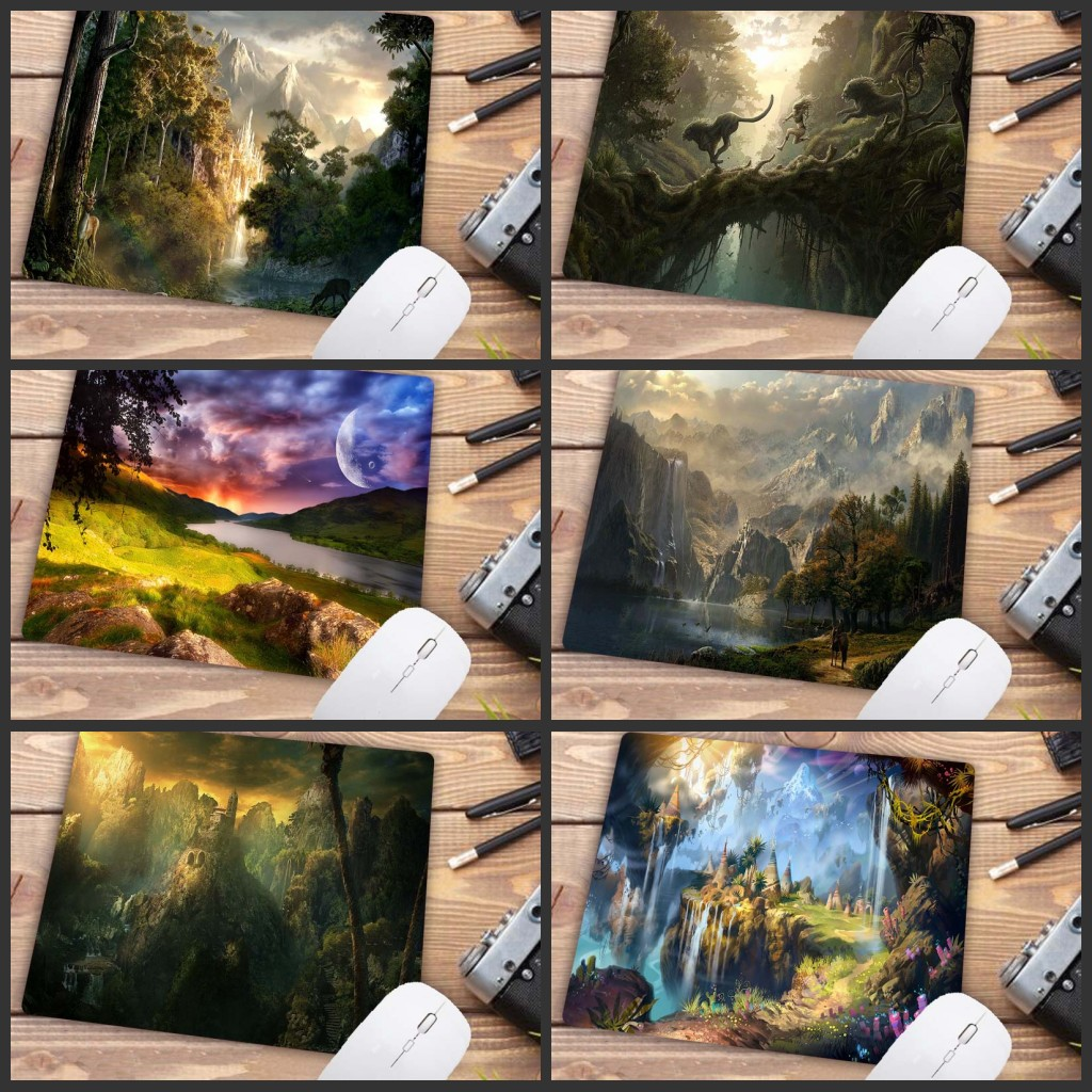 XGZ  Fantasy Forest Waterfall Scenery Speed Mousepad Top Selling Wholesale Gaming Keyboard Pad Mouse 22X18CM Pad Big Promotion
