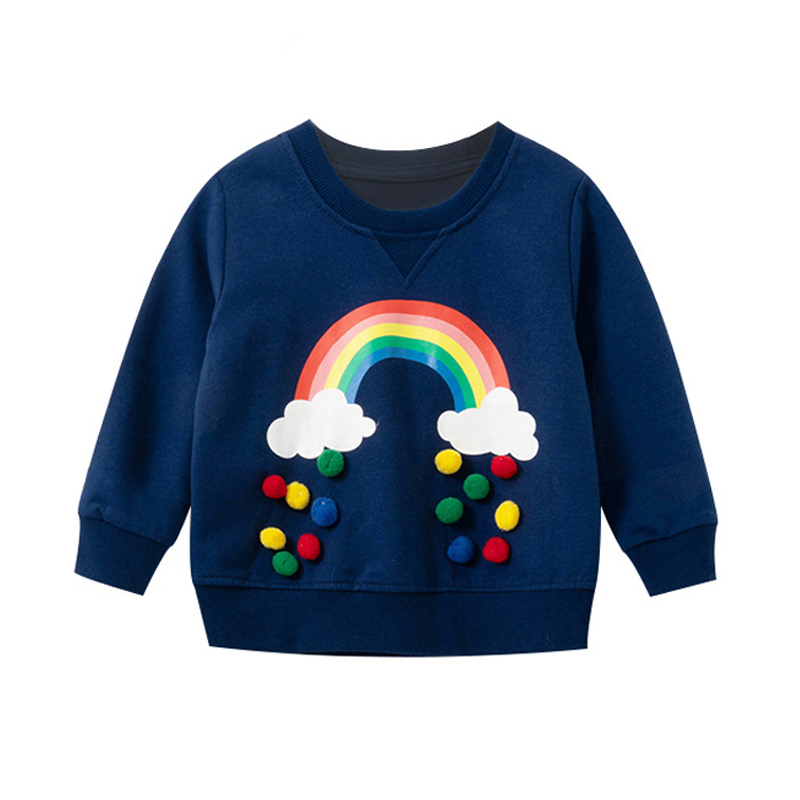 Kids Toddler Baby Girl Boy Rainbow Sweatshirt Long Sleeve Casual Pullover Sweater Shirt Tops Fall Winter Outfit