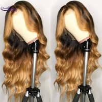 Brésilien Remy cheveux dentelle avant perruque ondulée Ombre Blonde faits saillants couleur 180% densité partie moyenne pré plumé rêve beauté