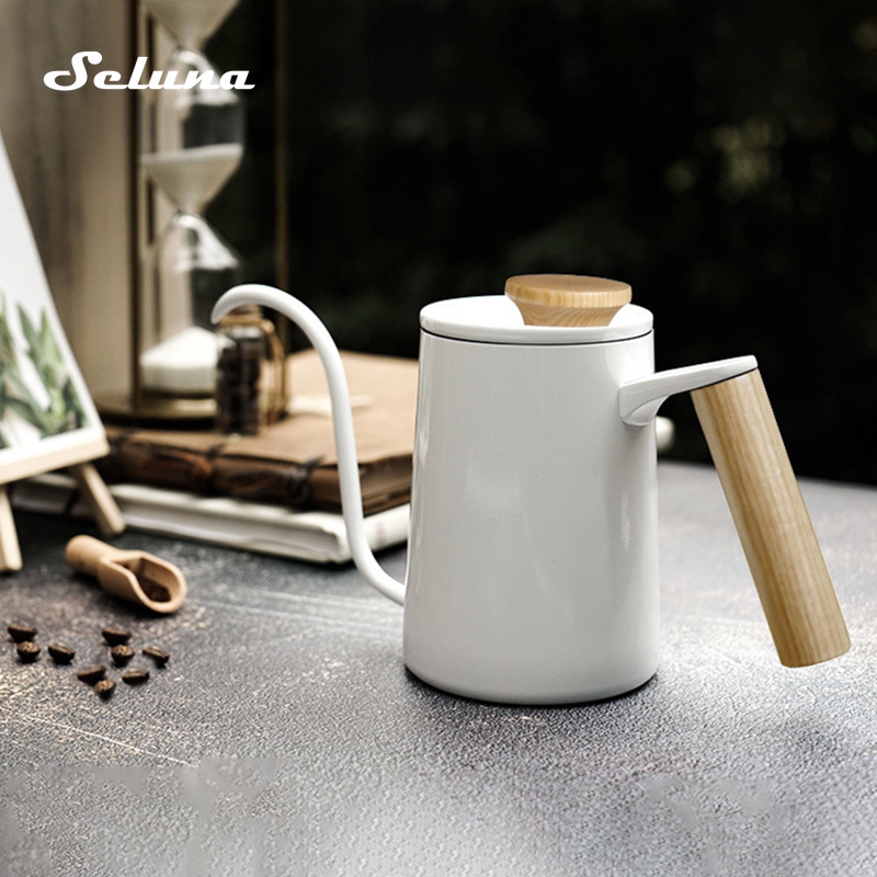 600ml Stainless Steel Gooseneck Drip Coffee Kettle Wood Handle Barista Coffee Pot Long Spout Kettle Stovetop Pour Over Teapot