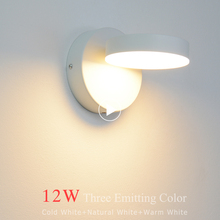Nordic LED wall lamp 12W adjustable 3 color temperate chain switch bedside lamps bedroom living room light
