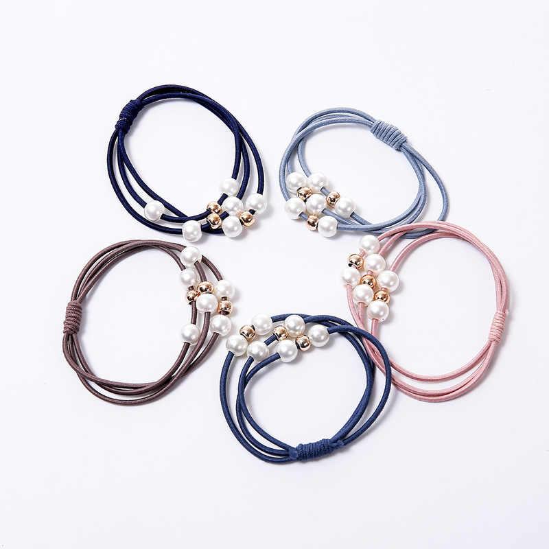 2019 mode perle élastique bandes de cheveux multicouche anneau de cheveux élastique pour queue de cheval bandeau élastique pour femmes filles cheveux accessoires