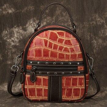 Vintage Women Backpack Genuine Leather Knapsack Crocodile Pattern For Girls Small Rucksack Female School Daypack Travel Bag