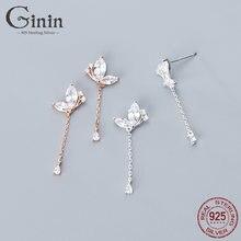 Ginin 925 стерлингового серебра свисающие серьги для женщин