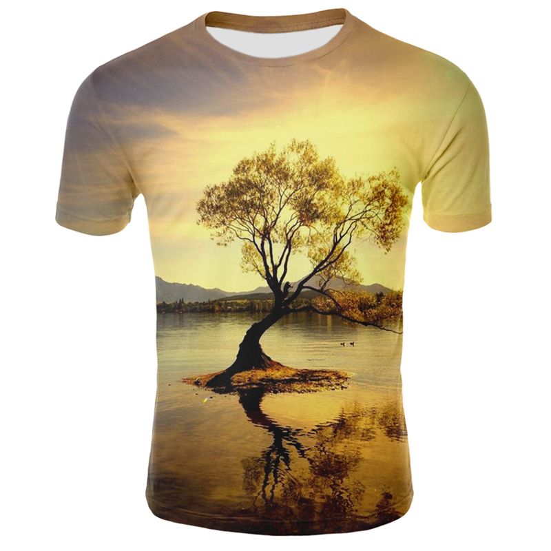 Nature / Landscape T Shirt Summer Casual Natural Scenery Full Print 3D T-shirt Cool Man's Top Tee 3d Printed T-shirts Men