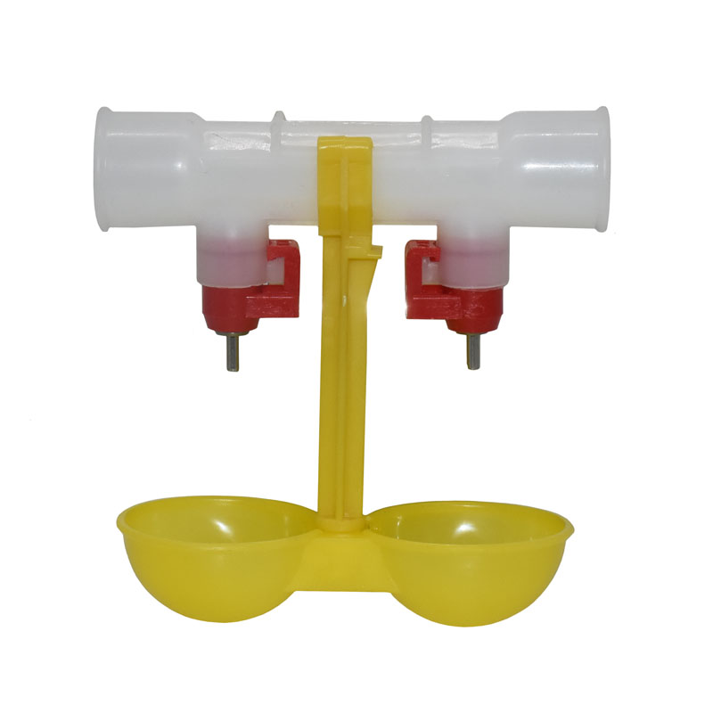 Chicken Waterer Double Nipple Drinker Mouth Drinking Hanging Cups Chicken Feeder Farming Equipment 10 Pcs