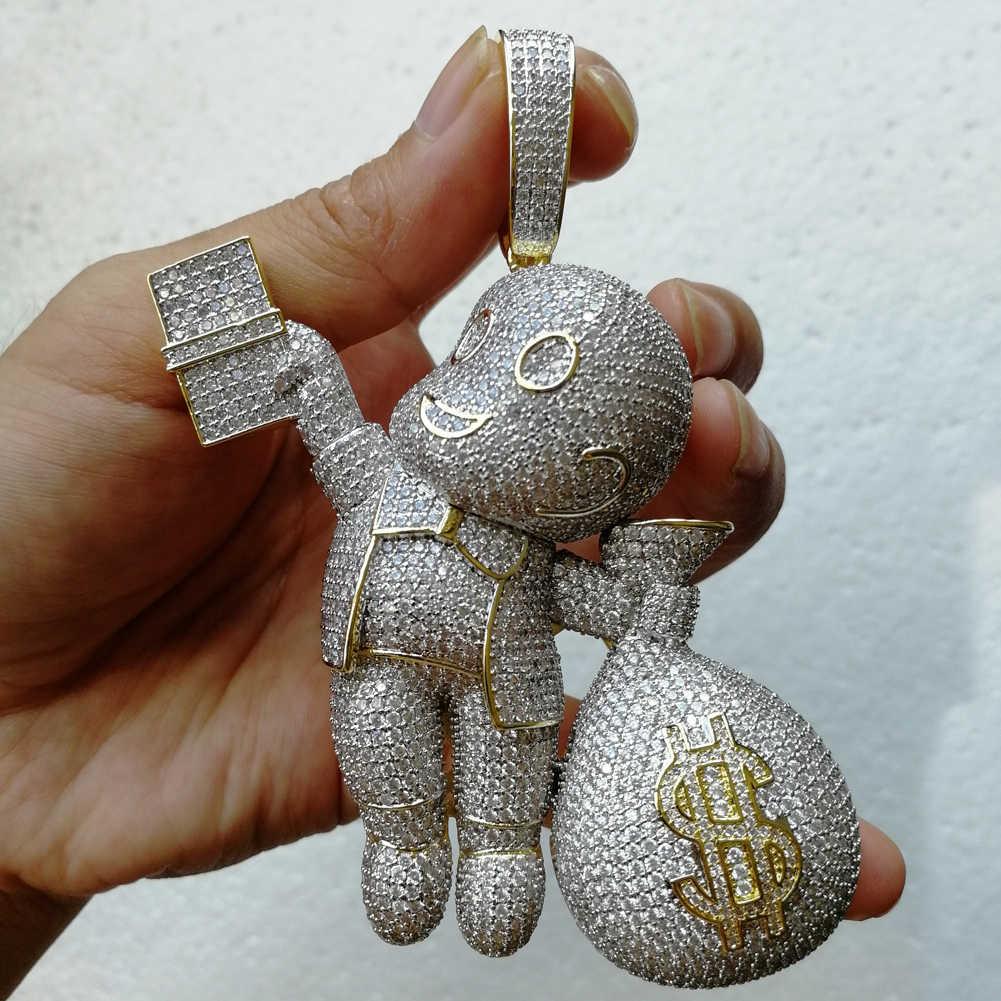 Duży rozmiar wysokiej jakości mosiądz cz kamienie Cartoon portfel wisiorek Hip hop naszyjnik biżuteria Bling Bling Iced Out CN044B