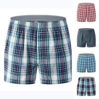 5Pcs/Lot Brand Classic Plaid Striped Men Boxers Cotton Mens Underwear Trunks Male Oversize Panties 5XL 5XL 6XL Soft Underpants
