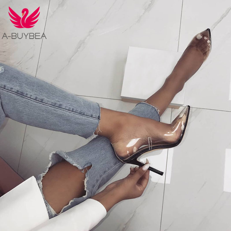Women Pumps 2019 Transparent Super High Heels Sexy Pointed Toe Slip-on Wedding Party Shoes For Lady Transparent Thin Heels Pumps