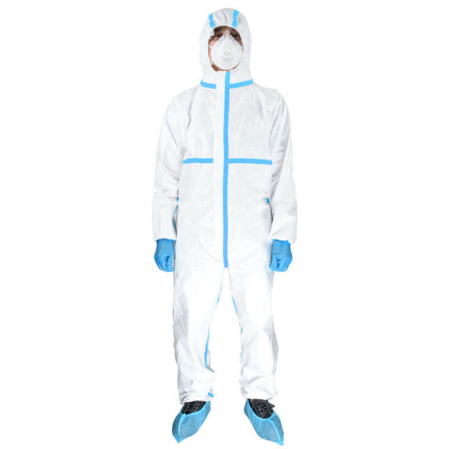 Professional PPE Suit Disposable Isolation Protective Clothing Coveralls Safety Hazmat Suit Non-woven Safety Clothing 2