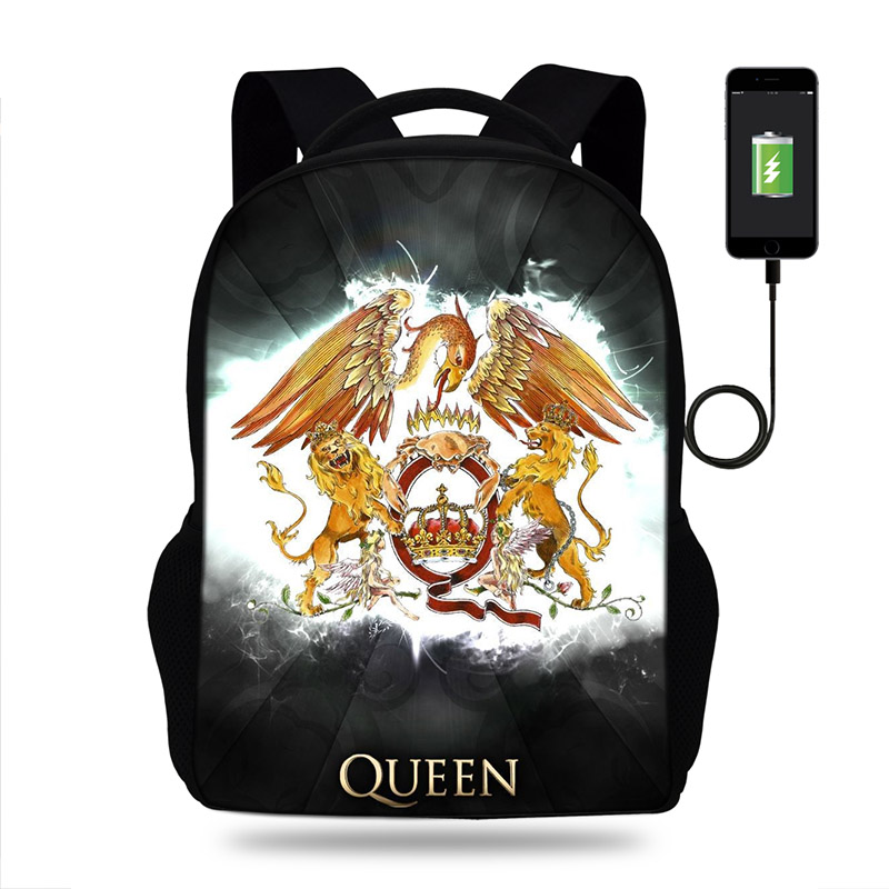 17inch Queen Freddie Mercury  Print Backpack USB Charge Backpacks For Teenager Boys&Girls School Bags Laptop Daily Backpacks