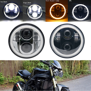 "Image 5 - 5.75"" Motorcycle LED Headlight Bulb for Harley Dyna Sportster Victory Triumph Indian Motor HeadLamp Halo DRL Amber Turn Light"