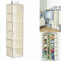 Hanging Wardrobe Non-Woven Fabric Space Saver Shelves Large Capacity Household Supplies 6 Section Multi-Layer Clothing