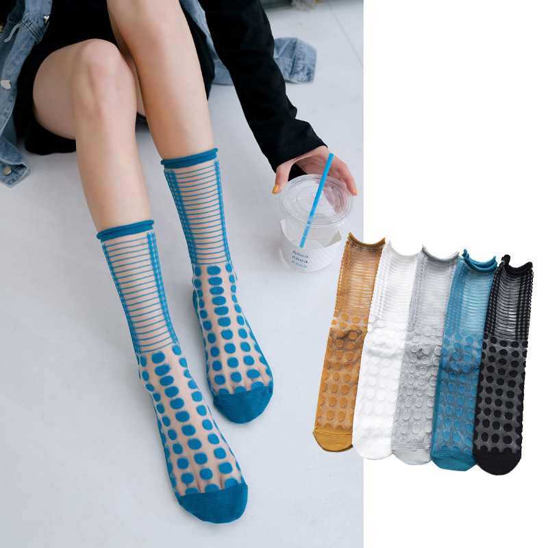 Women Socks Cute Ankle Socks 2020 Spring New Color Dots Women Fashion Long Socks For Women Breathable Transparent Korea Style