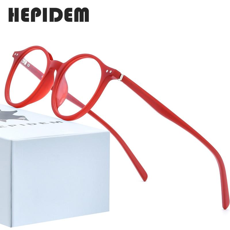 HEPIDEM Acetate Optical Eyeglasses Frame Women 2020 Vintage Round Glasses Men Myopia Prescription Nerd Spectacles Eyewear 9116