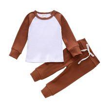 Осенняя детская одежда трикотажная полосатая блузка контрастных
