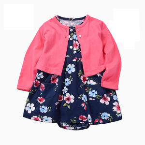 Newborn Infant Baby Girl Bodysuit Dresses 2020 Spring Summer Long-Sleeved Coat+Short SLeeve Dress 2 Pieces Baby Girls Outfits(China)