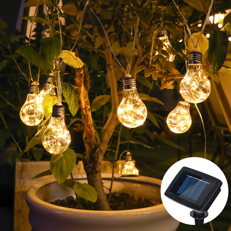 LED Solar Light String Garden lights Outdoor Fairy Light Bulb Street Garden Party Wedding Decoration Festoon led For Home Patio