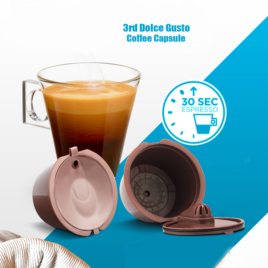 3Pcs Reusable Dolce Gusto Coffee Capsule 3rd Plastic Refillable Compatible Dolce Gusto Nescafe Coffee Machine