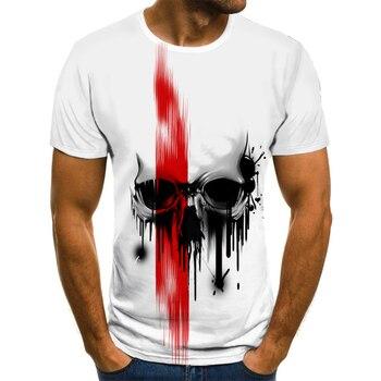 Summer summer men's T-Shirt New 3D printing t-shirt men's skull devil T-shirt Summer Black T-Shirt round neck beach T-shirt stripe pattern round neck stitching design t shirt in black