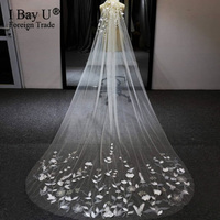 Luxury Beaded Bridal 3D Flower Veil 3m Ivory Bolero One Layer Wedding Veils Handmade Wedding Accessories With Lace Ivory Flowers